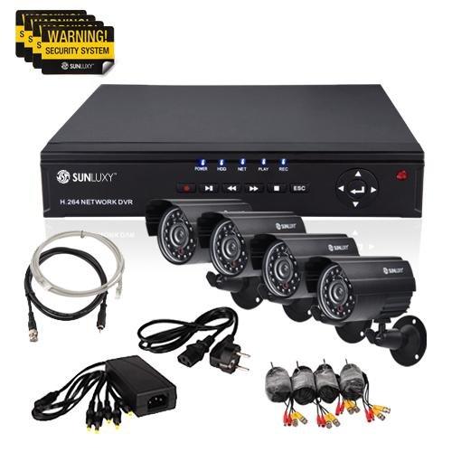 SUNLUXY® 8 Kanal CCTV H.264 DVR Video Überwachungssystem Set + 4x 420TVL CMOS Wasserdicht IR Nachtsicht Outdoor Überwachungskamera
