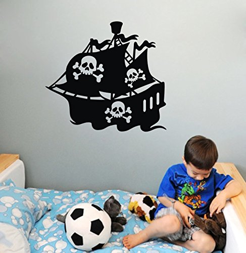 Olivia Diy Pirate Ship Silhouette Vinyl Black Wall Stickers Decals Kids Removable Art Decor Mural For Boys Girls Kids Bedroom Baby Nursery Living Room Home Decorations