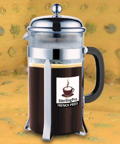 buy sterlingpro french coffee press 8 cup 4 mug 1 liter 34 oz chrome at coffee maker world. Black Bedroom Furniture Sets. Home Design Ideas