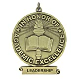 3 inch in Honor of Academic Excellence Medal with Leadership Imprint Comes with Ribbon - Pack of 6 (Gold) (Color: Gold)