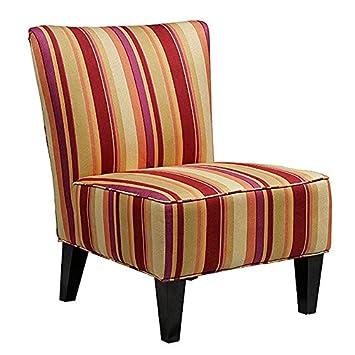 Metro Shop Portfolio Hali Striped Wine Armless Designer Accent Chair