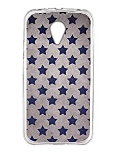 Blue Stars - Starry Background - Tough Designer Printed Case Cover for Moto G2 - Transparent Hard Case with HD Printed Back Moto G2 Cover Case