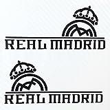 Real Madrid CF レアル・マドリード 小サイズ カーステッカー デカール 【ステッカー貼付説明書付】 (ブラック/サイドミラーサイズ2枚)