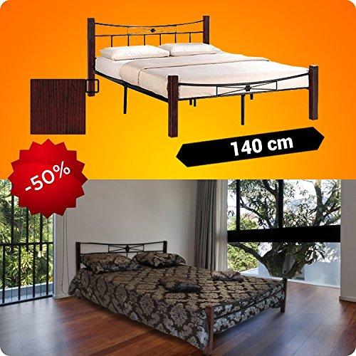 Metallbett 200x140cm mit Mahogany Holzfüße + Lattenrost Schlafzimmerbett Doppelbett Metall Bett BM1.4