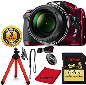 Nikon COOLPIX L840 Camera with 38x Optical Zoom and Wi-Fi (Red) (NEW, WHITE BOX) TECHPRO Bundle with Microfiber Cloth + Spider Tripod + TECHPRO 64GB Memory + Reader + 3 Year Worldwide Warranty