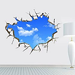 ORDERIN Wall Decal 3d Mural a Corner of Blue Sky Removable Wall Stickers for Wall and Ceiling Home Decor