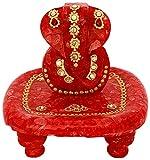 Snowfinch Gold Leaf Art Work Crystal Chowki Ganesha Idol (Red, 10 cm x 10 cm x 10 cm)