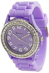 Geneva Platinum Women's 6886.Lavender Purple Silicone Quartz Watch with Purple Dial
