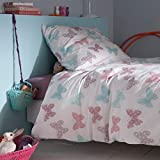La Redoute Interieurs Butterflies Pure Cotton Duvet Cover And Pillowcase Set Pink Size 140
