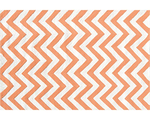 The Rug Market 25609D Handmade Rugs, Chevron Tangerine, Multicolor