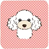 "Caroline's Treasures BB1257FC Checkerboard Pink White Poodle Foam Coaster (Set Of 4), 3.5"" H X 3.5"" W, Multicolor"