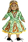 "Irish Dance Dress in Green and Yellow. Fits 18"" Dolls like American Girl®"