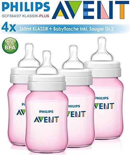 4-x-Philips-Avent-Classic-260-ml266-ml-Baby-Flschchen-Rosa-Anti-Colic-Weithals-und-ergonomische-Form-BPA-frei