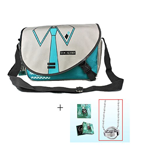 Anime Hatsune Miku Messenger Bag School Bag+1pcs Double Ring Necklace