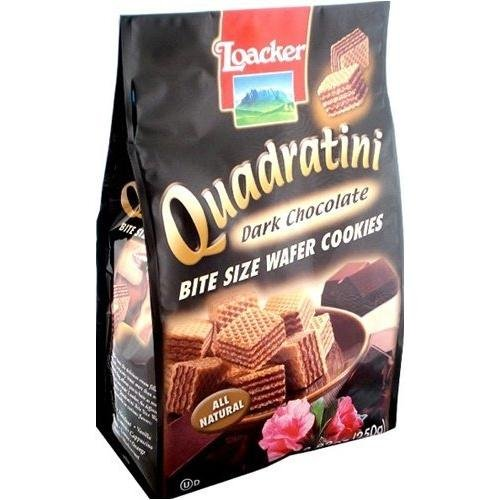 Loacker Quadratini Dark Chocolate Cube Wafers (Italian Wafer Cookies compare prices)