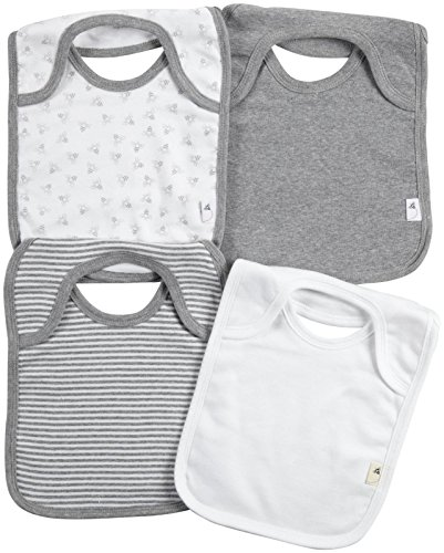Burt's Bees Baby Unisex Baby 4 Pack Bibs (Baby) - Heather Grey - One Size - 1