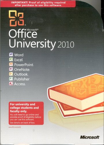 New Microsoft Office 2010 University Full Version Outlook Publisher & More