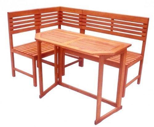 Balkon-Eckbank mit Tisch SANTA FE Gartenmöbel Sitzgruppe Tischgruppe Eukalyptus