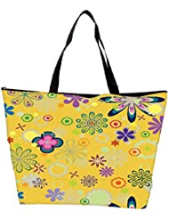 Snoogg Yellow Floral Pattern Designer Waterproof Bag Made Of High Strength Nylon