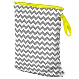 Planet Wise Wet Diaper Bag, Gray Chevron, Large
