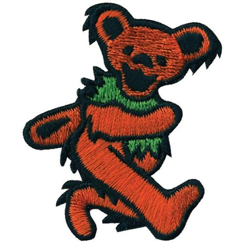 Grateful Dead - Mens Grateful Dead - Orange Dancing Bear Small Patch Orange