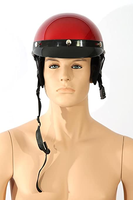 Casques de moto Demi casque TC-55 Vin rouge L ABS, Polycarbon Polystyrène