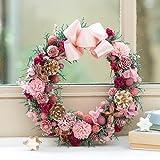 クリスマス ドライ リース「リース ド ロゼ(ピンク)」プリザーブドフラワー 日比谷花壇