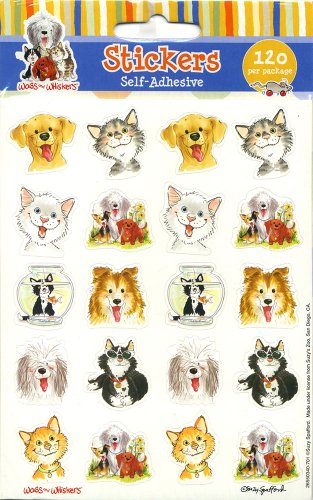 Eureka Wags and Whiskers Stickers, 120 Per Pack