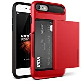 Coque iPhone 7, VRS Design [Damda Glide] [Rouge] - [Porte coulissante semi-automatique][Housse de Protection][Fente pour Carte][Anti Scratch Etui][Anti Chocs Case] Pour Apple iPhone 7 4.7""