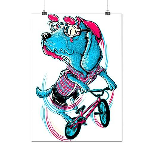 pazzo equitazione cagnetto Divertente Opaco/Lucida Poster A2 (60cm x 42cm)   Wellcoda