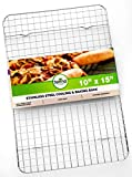 Oven Safe, Heavy Duty Stainless Steel Baking Rack & Cooling Rack, 10 x 15 inches Fits Jelly Roll Pan