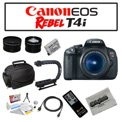 Canon EOS Rebel T4i Digital Camera with EF-S 18-55mm f/3.5-5.6 IS II Lens with Starters Bundle Kit Including Opteka Microfiber Deluxe Camera Gadget Bag, Opteka .43x High Definition Wide Angle With Macro & 2.2x Telephoto Lens Kit, Opteka X-GRIP Professional Camera / Camcorder Action Stabilizing Handle and MORE!