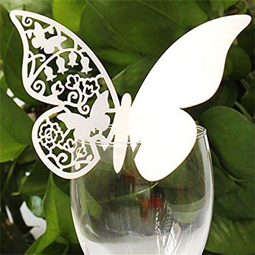 Kolylong Wedding Decoration Nom 50pc Tableau De Mariage De Papier Lieu Carte Escort Card Wine Card Verre (Papillon)