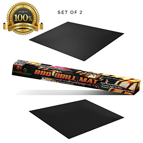 Great Features Of BBQ Grill Mat Cooking Sheet by Smart Food Ideas - Set of 2 in a Pack Nonstick Reus...