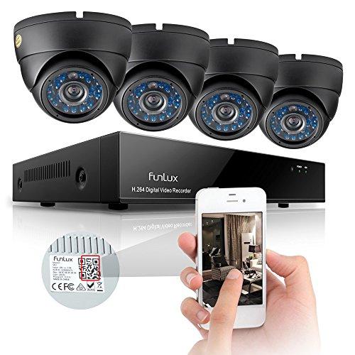 Funlux® Einfache Einstellung Außen Dome 600TVL Überwachungskamera Set 8CH 960H P2P DVR Rekorder Überwachungssystem mit 4 Outdoor Höhe Auflösung Tag Und Nacht CCTV Videoüberwachung Set iPhone Samsung Anschluss Ohne Festplatte