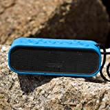 MOCREO Water-resistant NFC Portable Bluetooth Speaker Rugged Splash Proof + Hands-free Speakerphone w/ Built-in Mic + Dual Stereo Speakers + Slot Indoor/Outdoors Waterproof Speaker IPX5 + Latest Bluetooth 4.0 W/ NFC Compatible w/ Apple iPhone 6 Plus,5S; Samsung Galaxy Note 4, Galaxy S5, Galaxy S4; HTC One M8; Nexus 6, Nexus 9; LG G3; iPad Air; iPod; MP3 Players,NFC-enabled Devices - MOSOUND Crater (Blue)