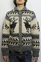 KANATA (カナタ) REDWOOD別注 '12 DEER COWICHAN SWEATER (IVORY / CHARCOAL) 38