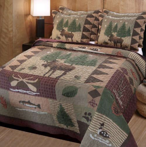 Best Price! Greenland Home Moose Lodge Quilt Set, Full/Queen