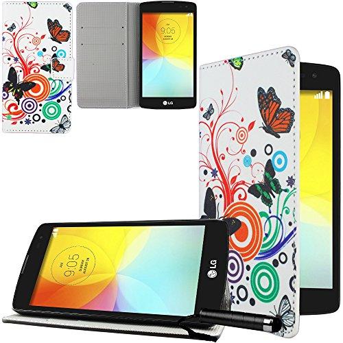 Ownstyle4you LG BELLO II 2 X150 Tasche Handyhülle Brieftasche PREMIUM Kunst Leder Case Schutzhülle SIDE BUTT WEIß + Schutzfolie