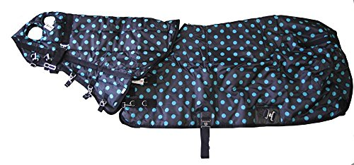 420D Medium Weight Horse Blanket And Hood Combo Turquoise Polka Dots, 75 Medium front-431780