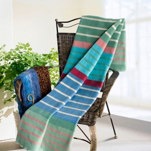 [Multicolor Stripes] Soft Coral Fleece Throw Blanket With Fringe (59 By 79 Inches) front-576996