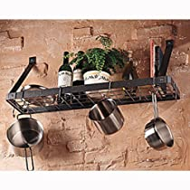 The Gourmet Bookshelf Wall Mount Pot Rack with Grid