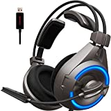 Senicc SENICC A6 Stereo Gaming Headset with Microphone USB LED Light, Flying Wing Lightweight Design Over-Ear Noise Cancelling Surround Sound Headphones for PC, PS4, Grey (Color: Grey)