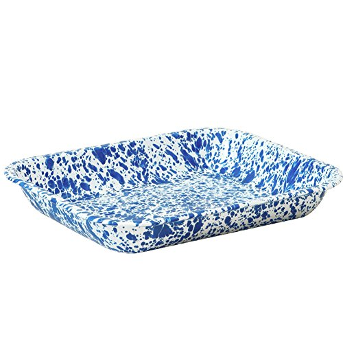 Enamelware Large Roasting Pan - Blue Marble