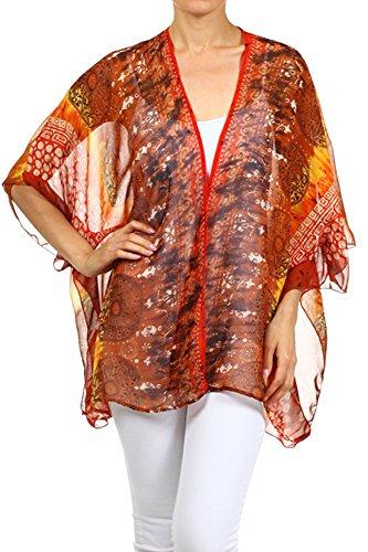 Modern Kiwi Aria Printed Kimono Chiffon Cardigan Orange One Size