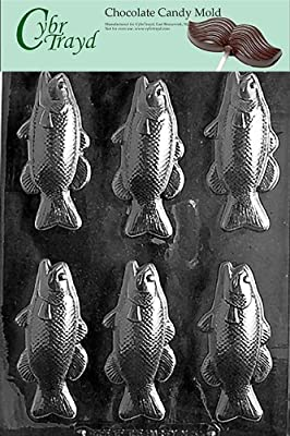 Cybrtrayd N053 Bass Fish Bars Chocolate Candy Mold with Exclusive Cybrtrayd Copyrighted Chocolate Molding Instructions