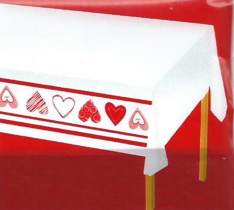 Make A Romantic Dinner Extra Special With A Beautiful Heart Lined Tablecloth.  Stamped For Cross Stitch On White Easy Care Polyester/cotton Fabric With A  ...