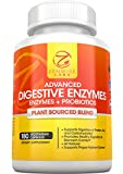 Digestive Enzymes With Probiotics - Best All Natural Digestive System Supplement - Boosts Digestive Health & Reduces Gas, Bloating & Indigestion - Plant Based Vegan Blend - 180 Vegetarian Capsules
