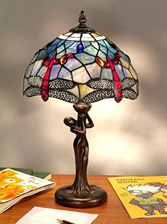 tiffany style table lamp blue dragonfly girl lighting. Black Bedroom Furniture Sets. Home Design Ideas