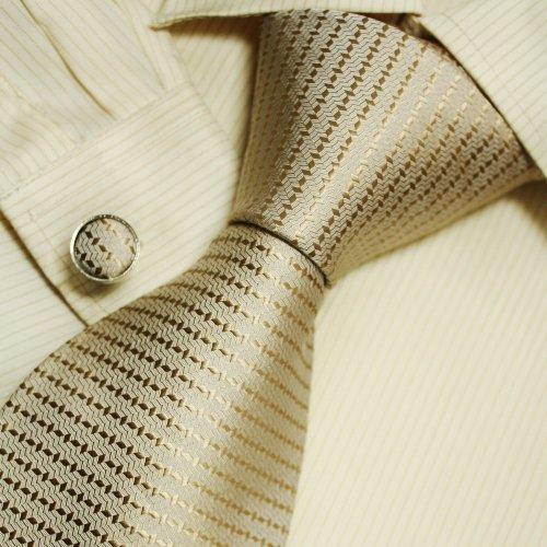 Khaki Solid Pattern Men Ties for Best Man Gifts Formalwear Silk Tie Cufflinks Set A1135